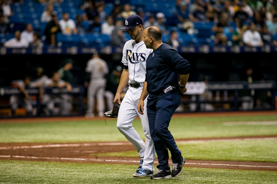The Rays lost Andriese after one inning to injury./CARMEN MANDATO