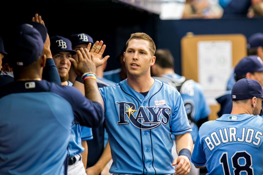 Corey Dickerson helped the Rays take a 4-2 lead./CARMEN MANDATO
