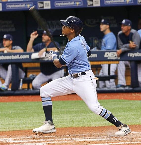 Mallex Smith doubled to right to give the Rays a lead./JEFFREY S. KING