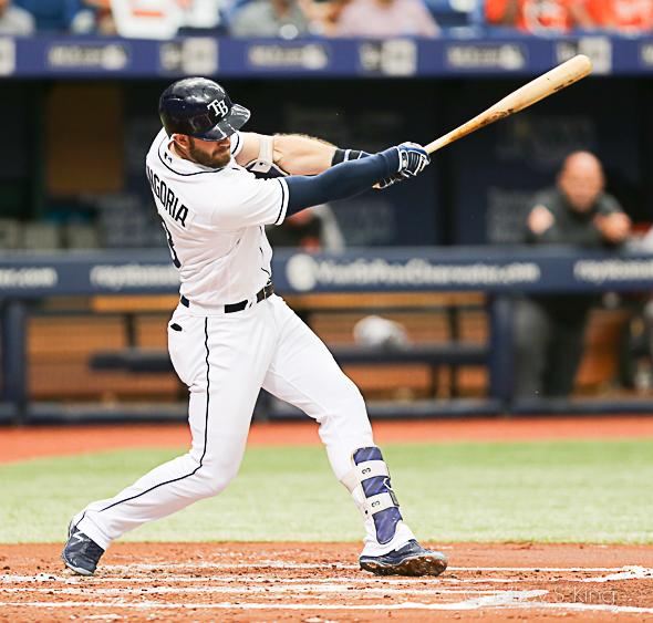 Longoria had three hits, including the go-ahead home run./JEFFREY S. KING
