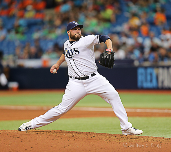 Hunter threw a scoreless eighth for the Rays./JEFFREY S. KING
