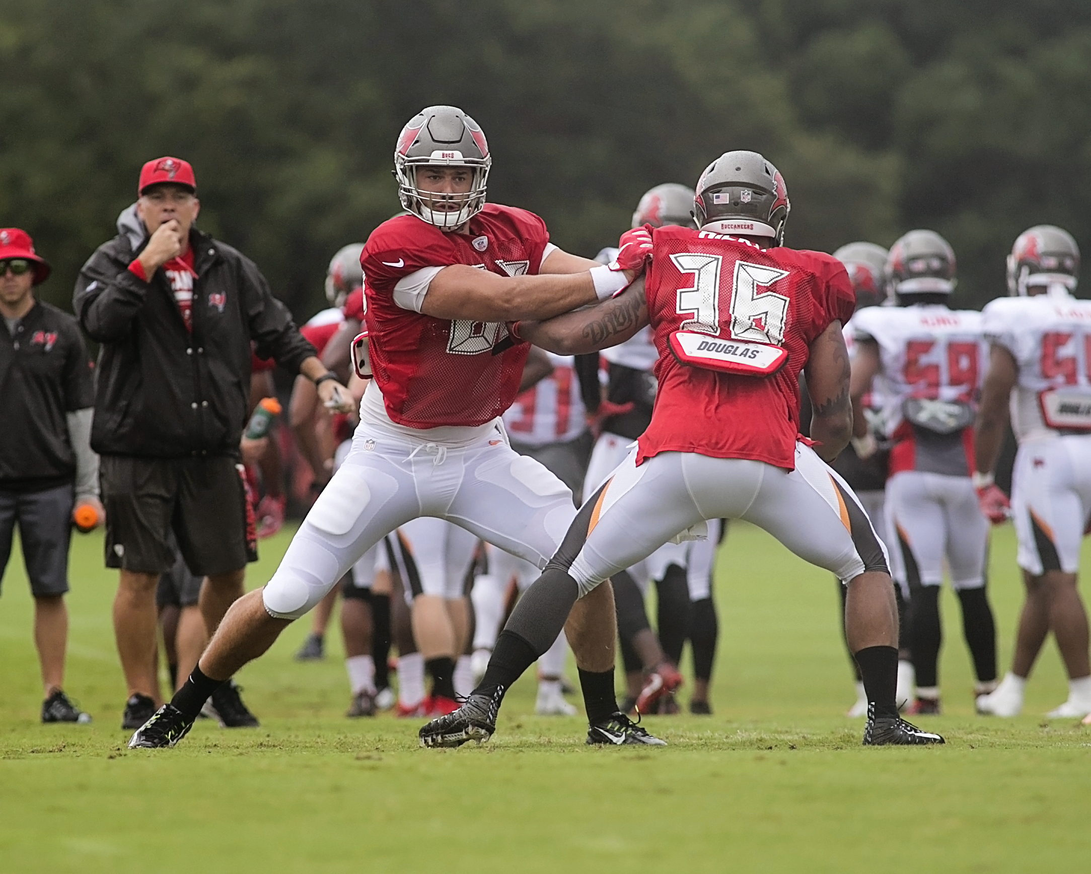 Bucs think they have a find in tight end Auclair./CARMEN MANDATO