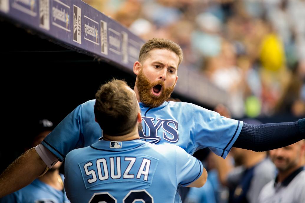 Souza lifts Miller after his big home run.//CARMEN MANDATO