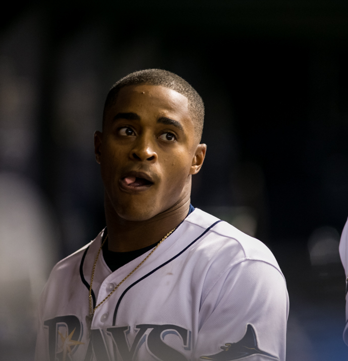 Mallex Smith's dropped fly ball led to three unearned runs for the Rangers./CARMEN MANDATO