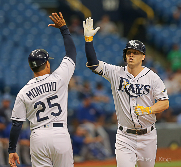 Dickerson's homer in the eighth doubled the Rays' lead./JEFFREY S. KING