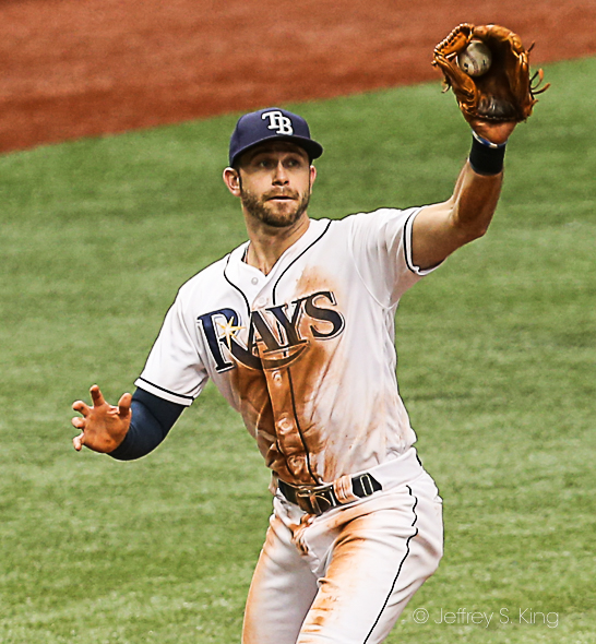 Longoria had two hits for the Rays./JEFFREY S. KING