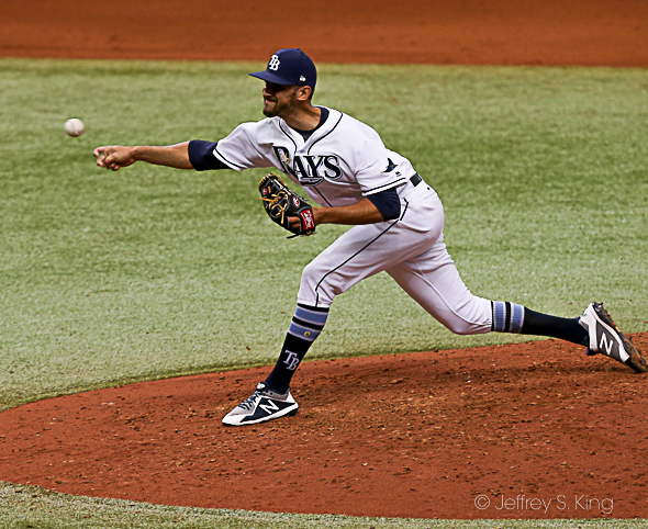 Cichek got the win for the Rays in relief./JEFFREY S. KING