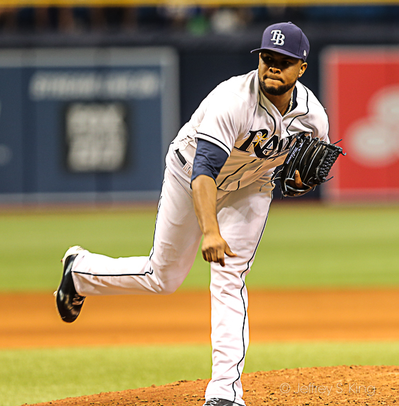Colome now has 41 saves for the Rays./CARMEN MANDATO
