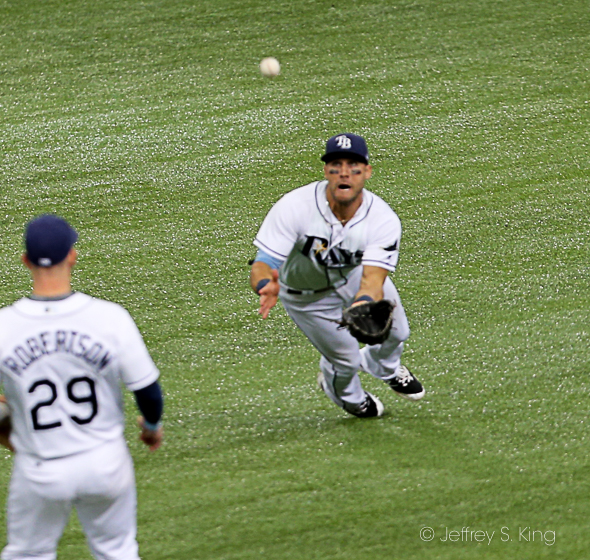 Kiermaier made two highlight catches in the fifth inning./JEFFREY S. KING