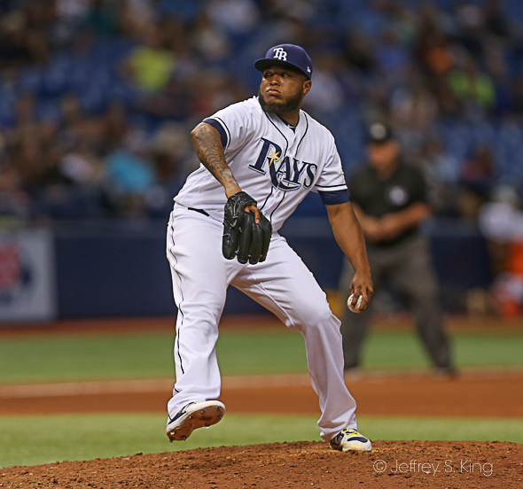 Alvarez struck out the side in the ninth./JEFFREY S. KING