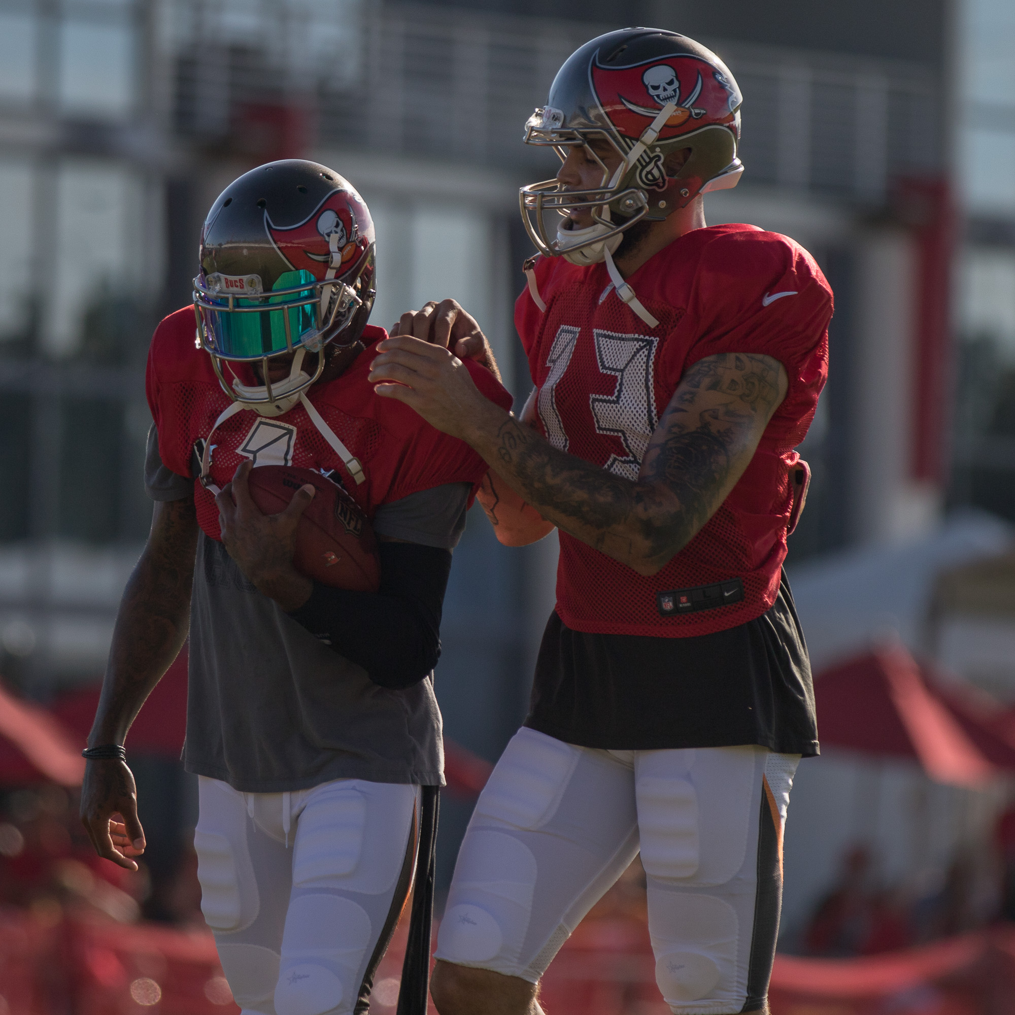 Evan and Jackson during drills./STEVEN MUNCIE