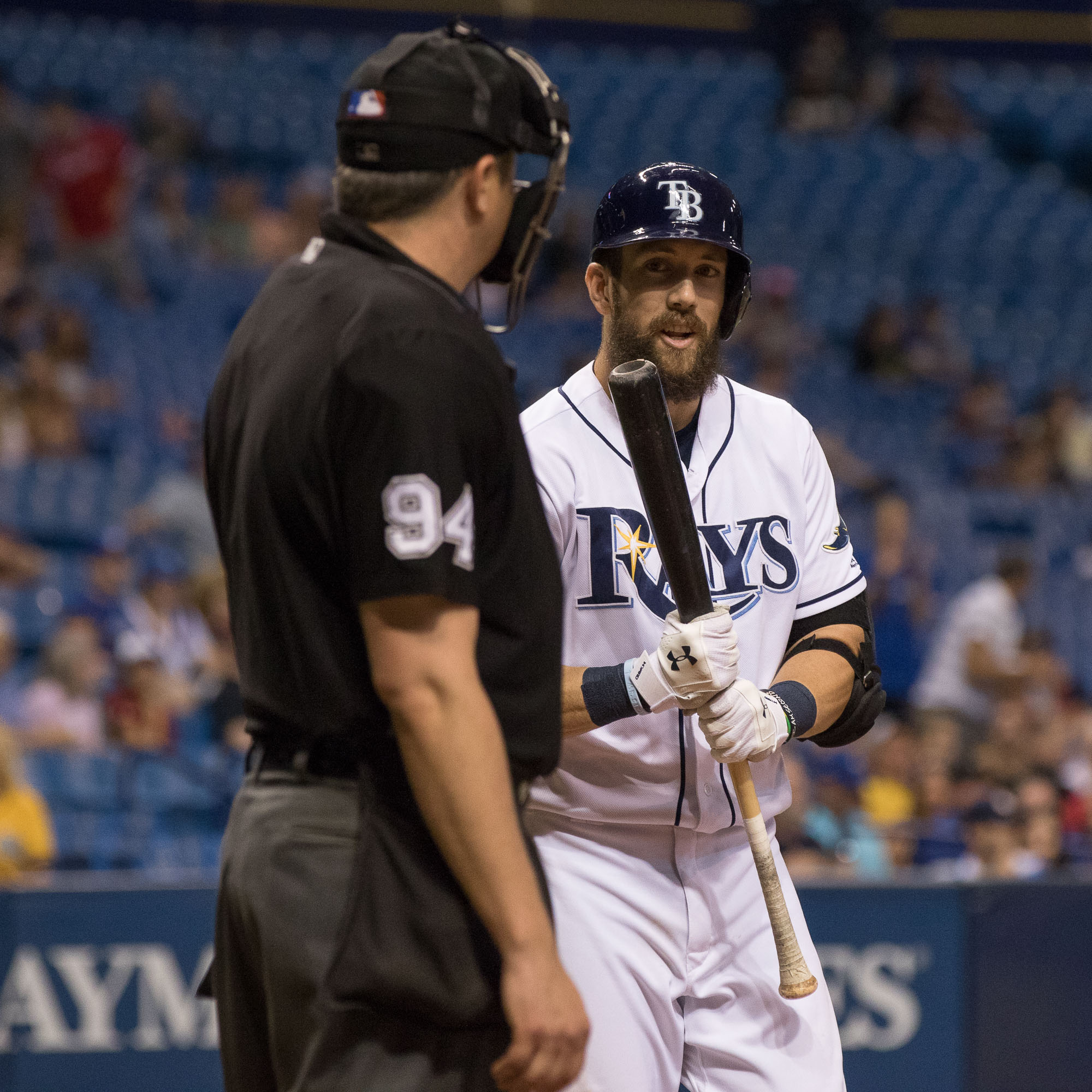 Souza Jr. argues with the umpire after a strike./STEVEN MUNCIE
