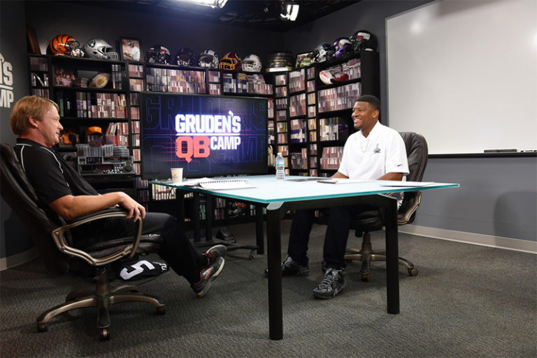 Gruden has become a star in broadcasting. Here with Jameis Winston.