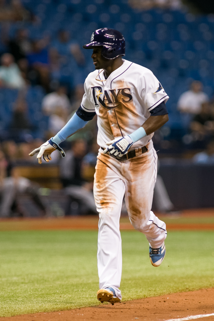 Hechavarria's run leads the Rays to victory./CARMEN MANDATO