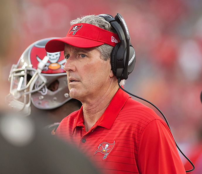 Koetter saw his Bucs' get flattened by the Vikings./CARMEN MANDATO