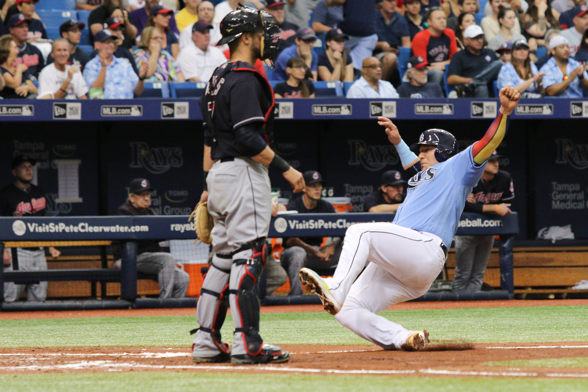 Sucre scores for the Rays in the third inning./ANDREW J. KRAMER