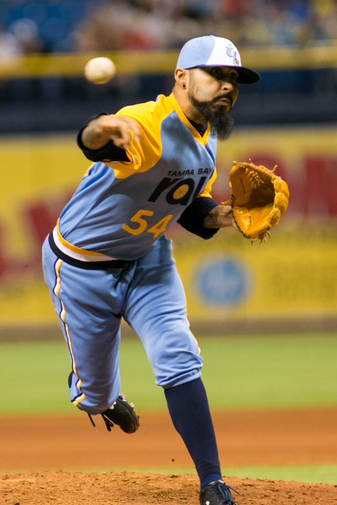 Romo threw two shutout innings for Rays./CARMEN MANDATO