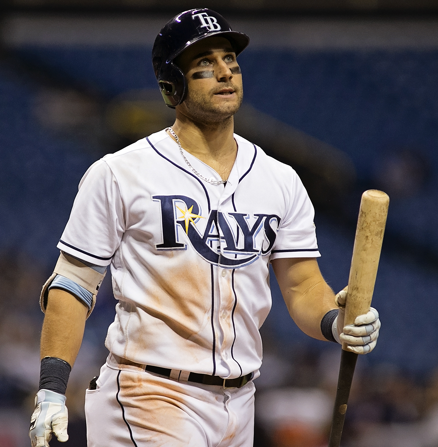 Kiermaier frustrated in his at-bat against Twins./CARMEN MANDATO