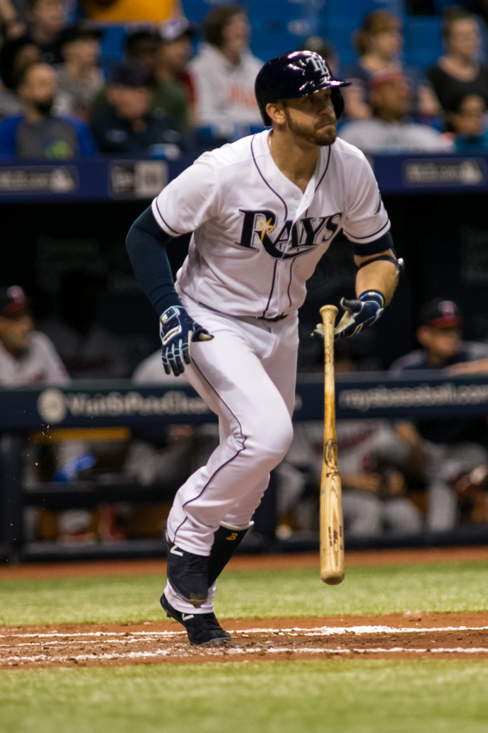 Longoria drove in three runs Monday night./CARMEN MANDATO