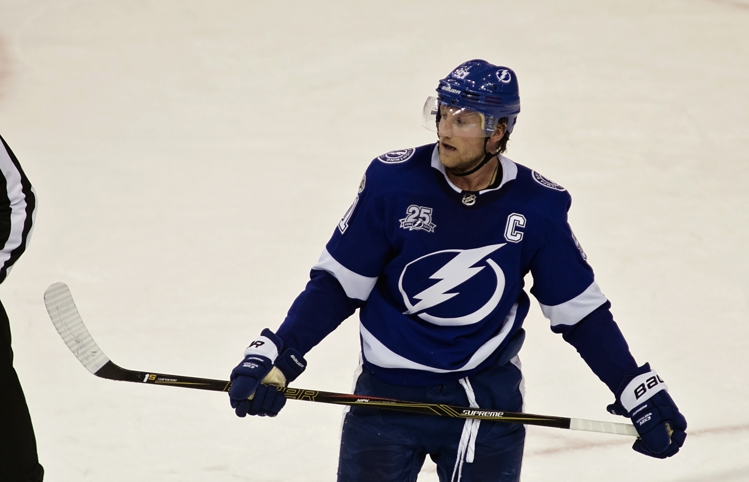 Stamkos leads the league in scoring./CARMEN MANDATO