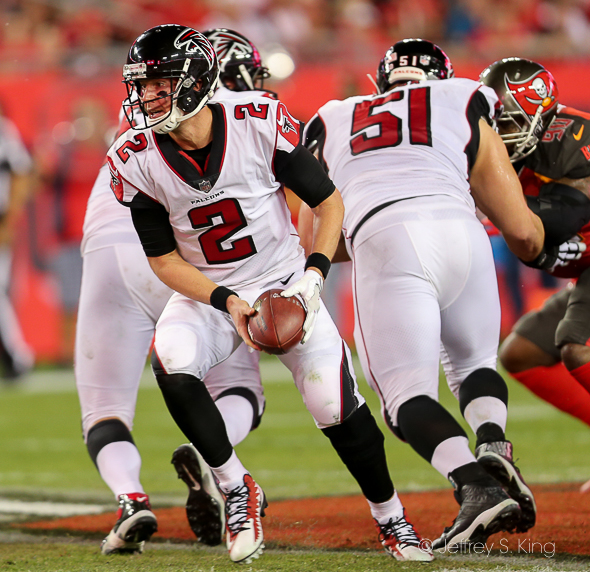 Matt Ryan was a running quarterback Monday./JEFFREY S. KING