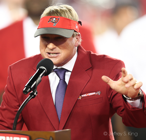 Gruden went into the Bucs' Ring of Honor./JEFFREY S. KING