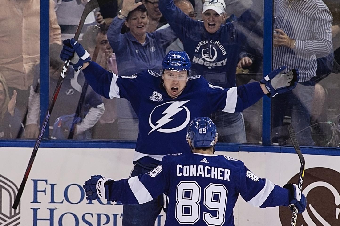 Erne scored a goal in the Lightning's win./CARMEN MANDATO