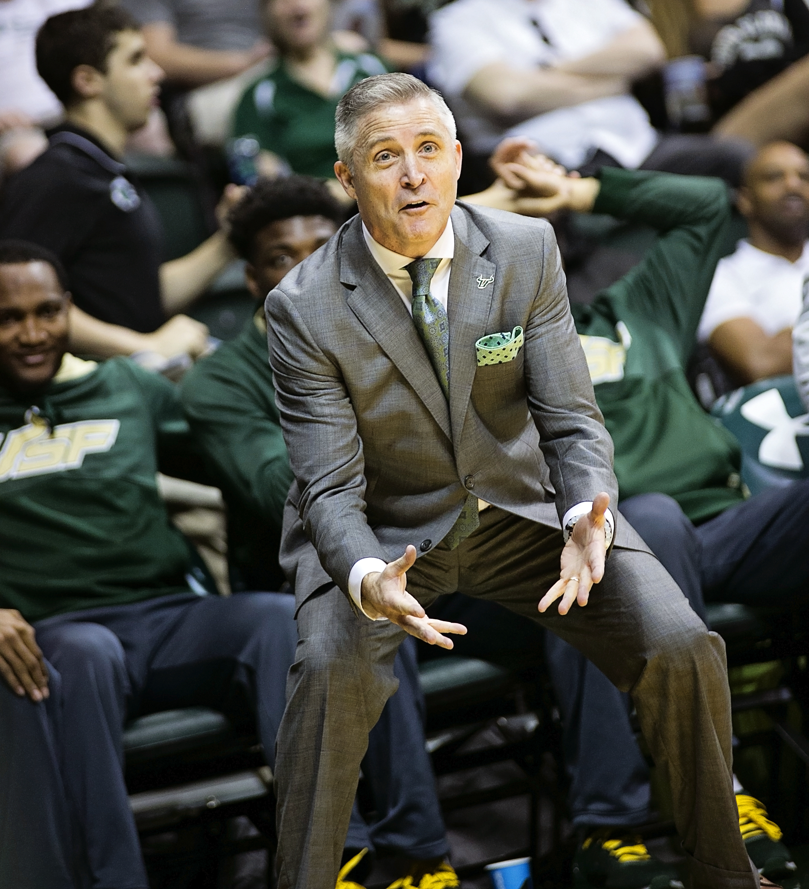 Gregory argues call in USF's eighth straight loss./CARMEN MANDATO