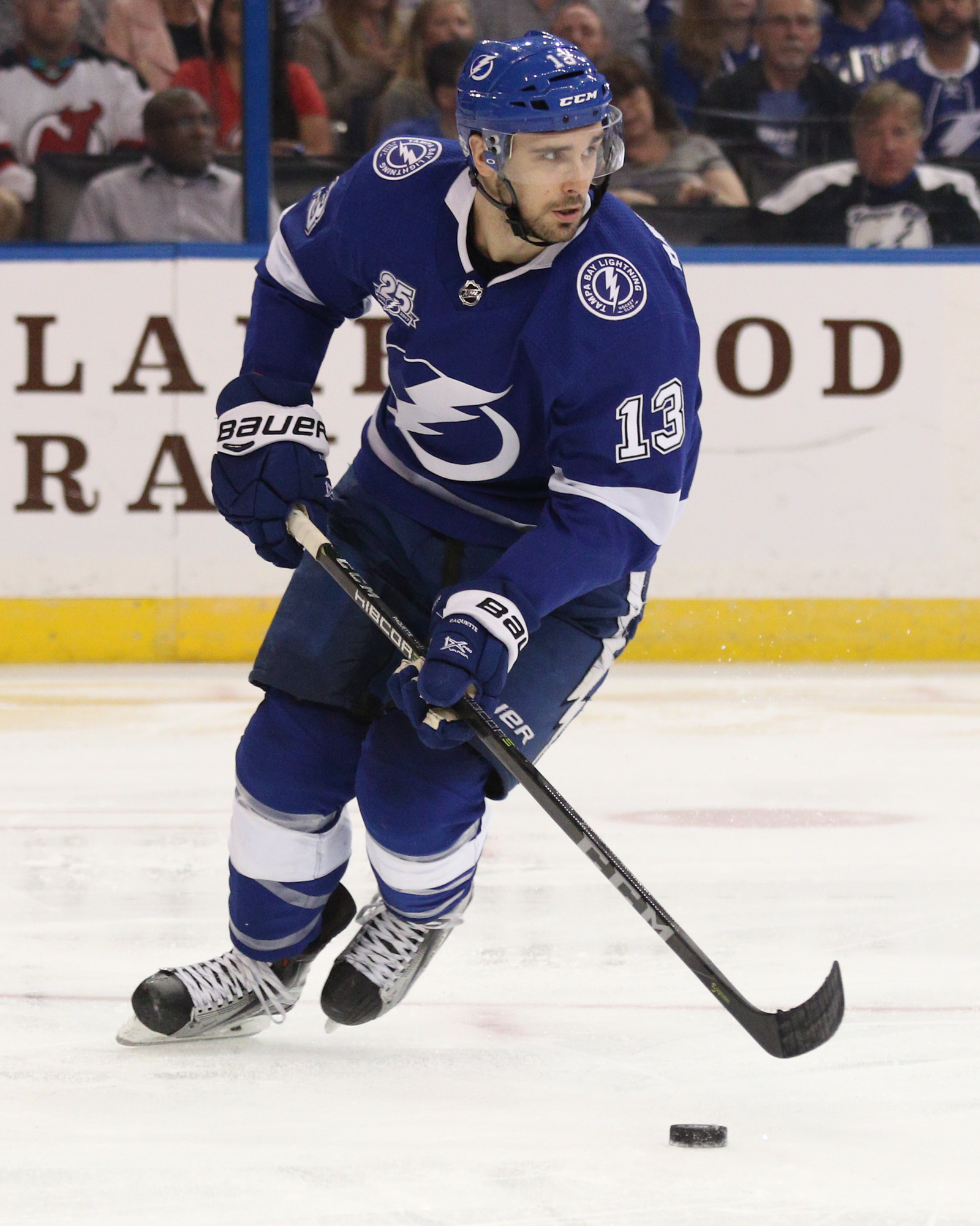 Paquette moves up the ice for the Bolts./ANDREW J. KRAMER