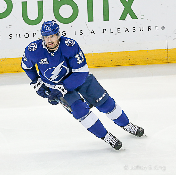 Killorn moves the puck up the ice./JEFFREY S. KING