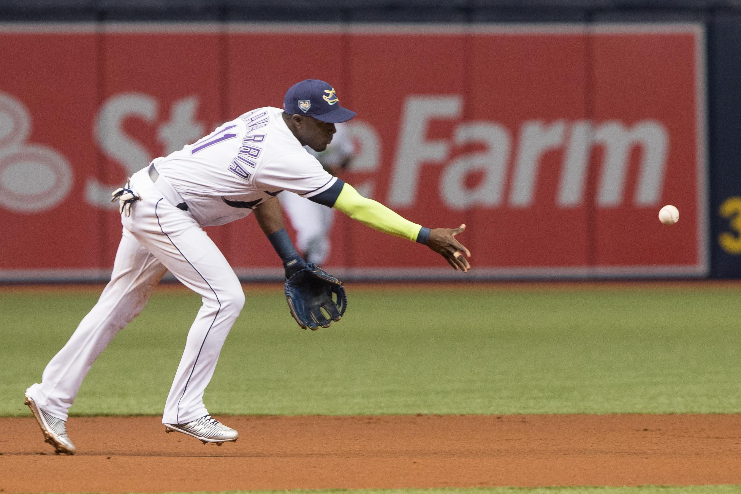 Adeiny Hechavarria tosses the ball to second base./STEVEN MUNCIE