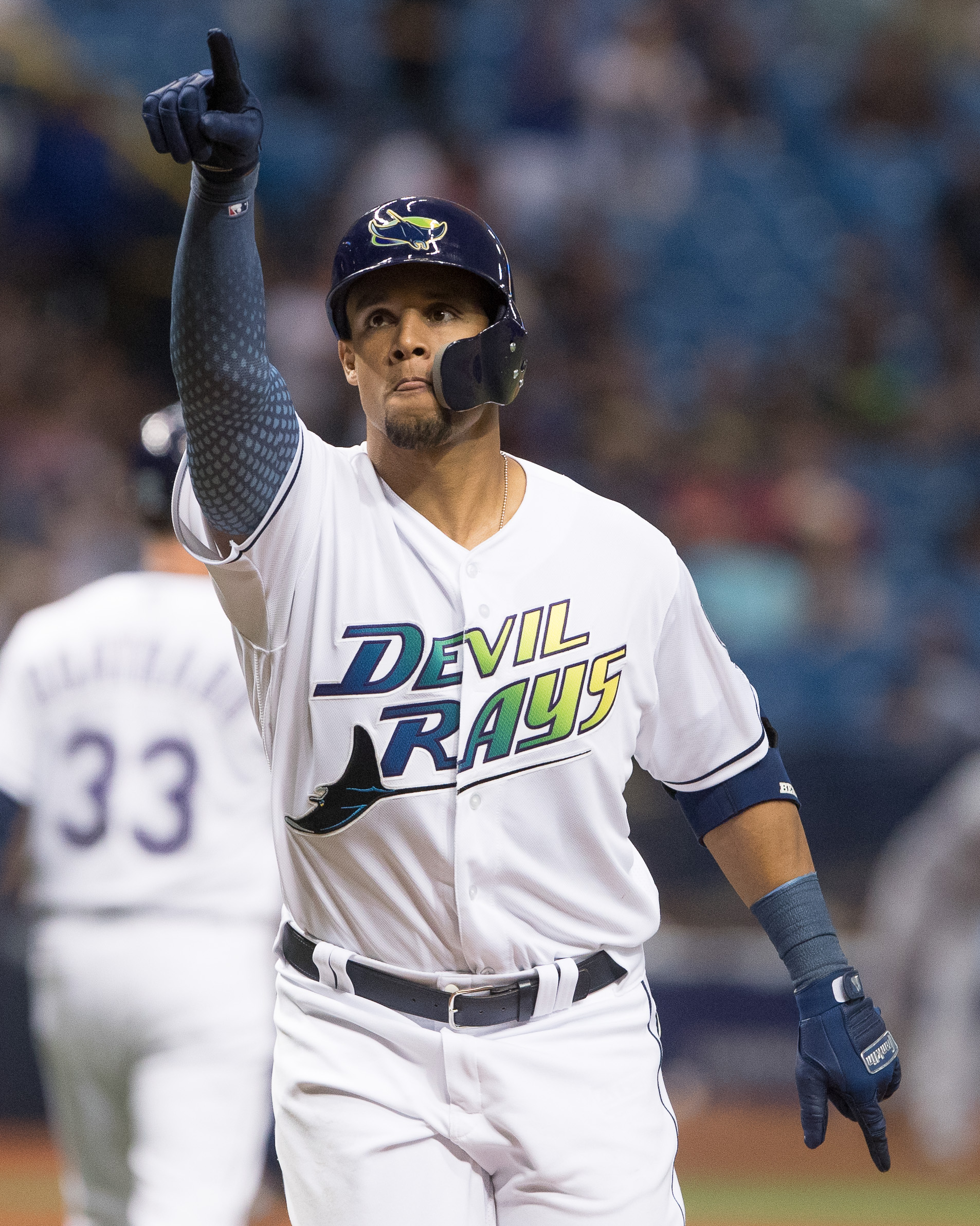 Carlos Gómez reacts after getting the Rays tp within a run./STEVEN MUNCIE