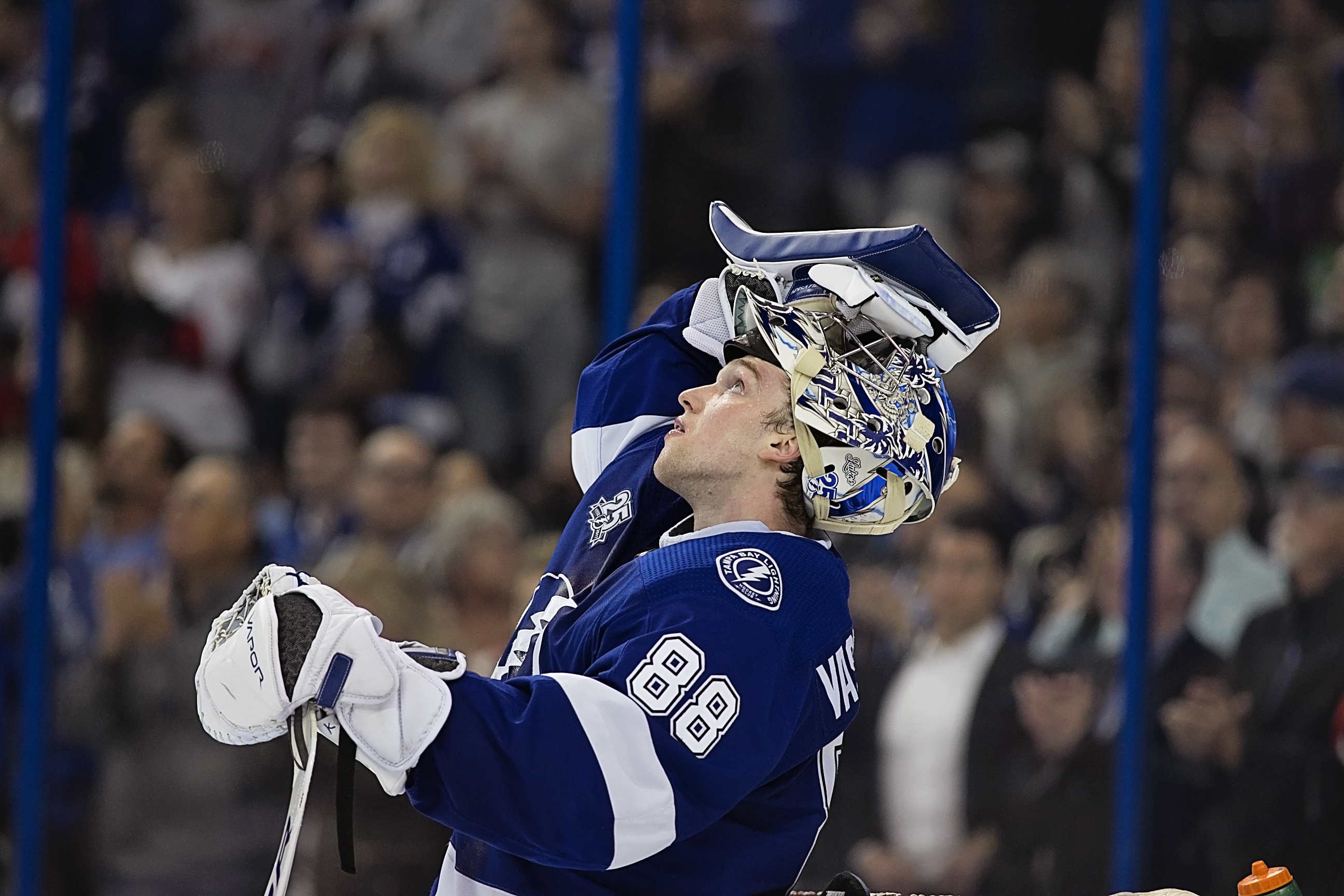 Vasilevskiy watches another goal scored in replay./CARMEN MANDATO