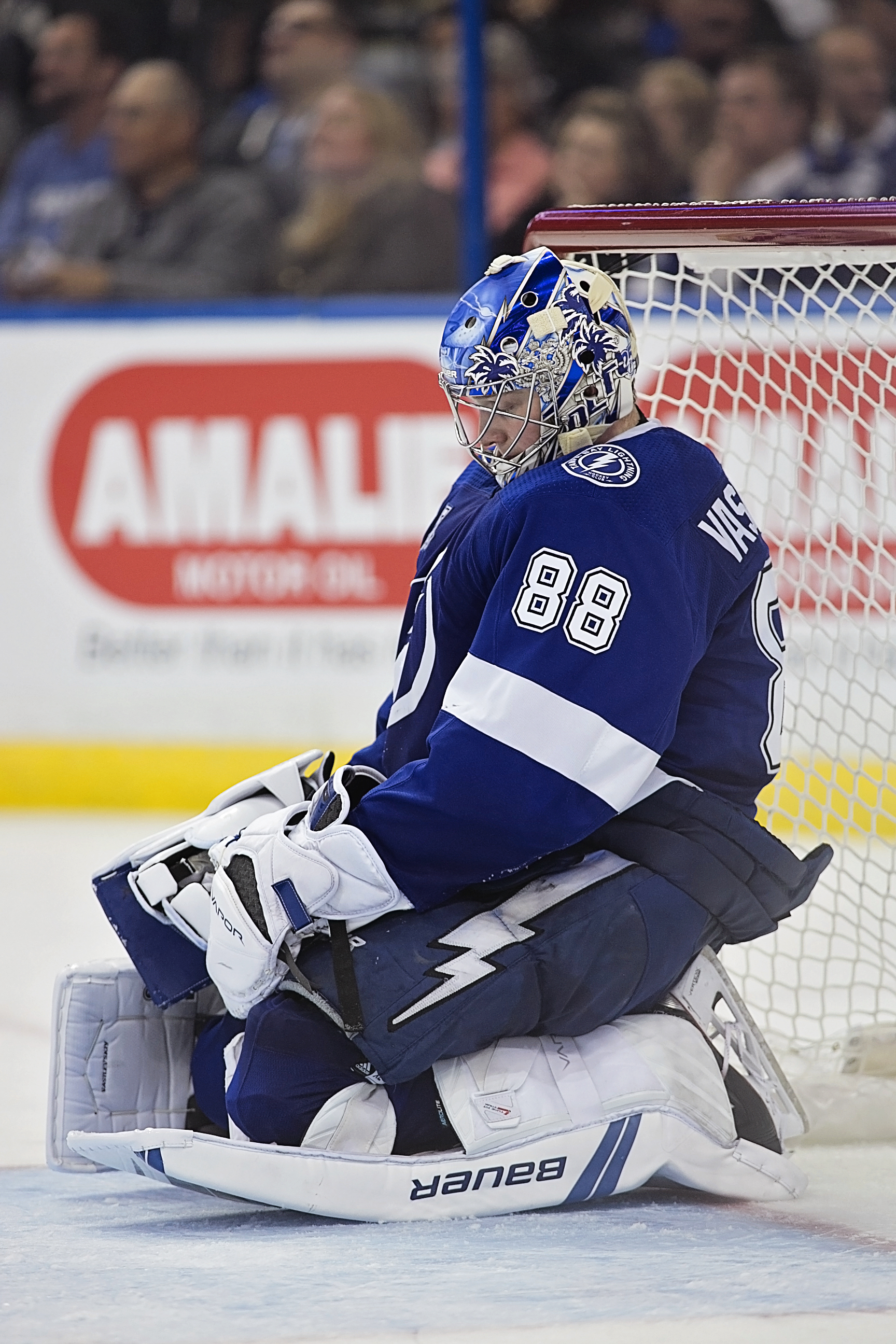 Vasilevskiy doesn't like being scored on./CARMEN MANDATO