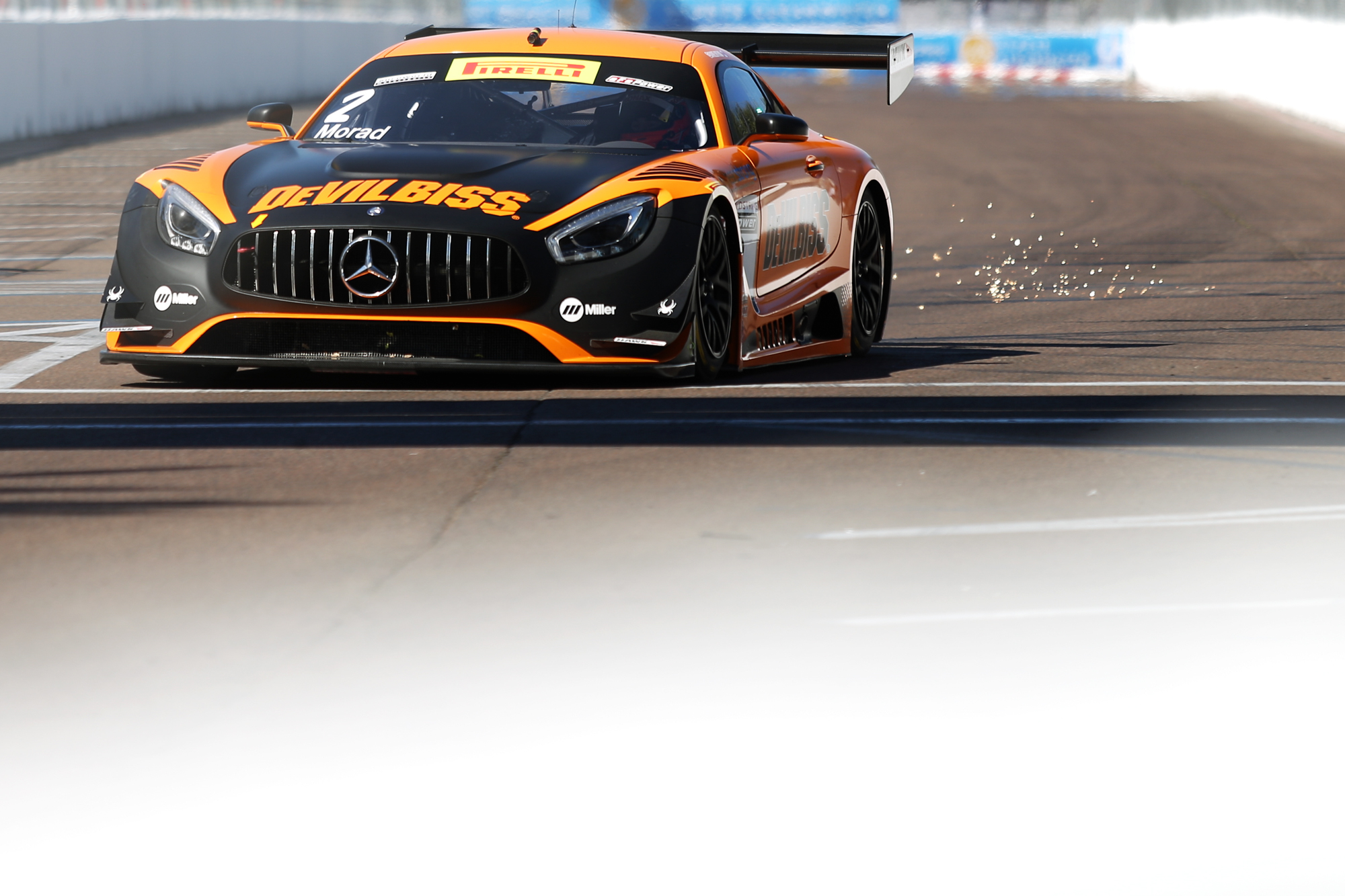 #2 Morad rumbles into turn 11 during Pirelli World Challenge practice./ANDREW J. KRAMER