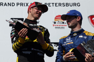 Bourdais and Rossi on the podium./ANDREW J. KRAMER