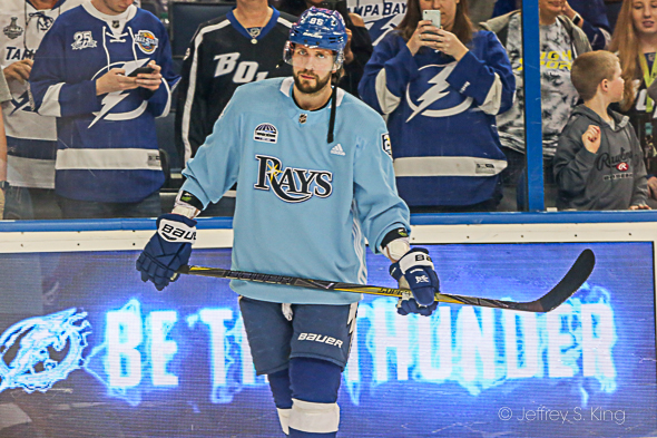 Kucherov, warming up in a Rays' jersey, scored his fourth goal in five games./JEFFREY S. KING