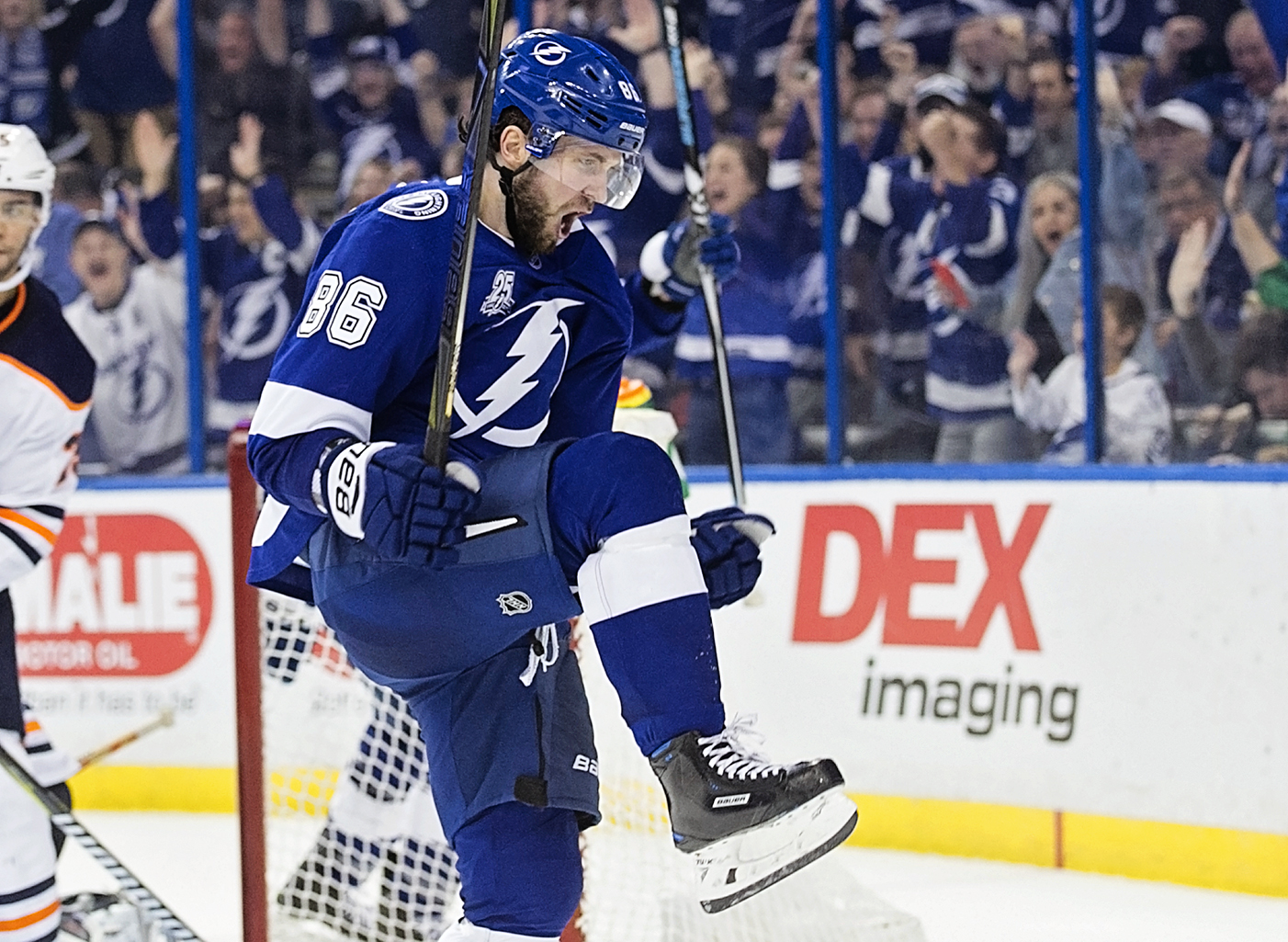 Kucherov scored two goals to lead the Lightning./CARMEN MANDATO