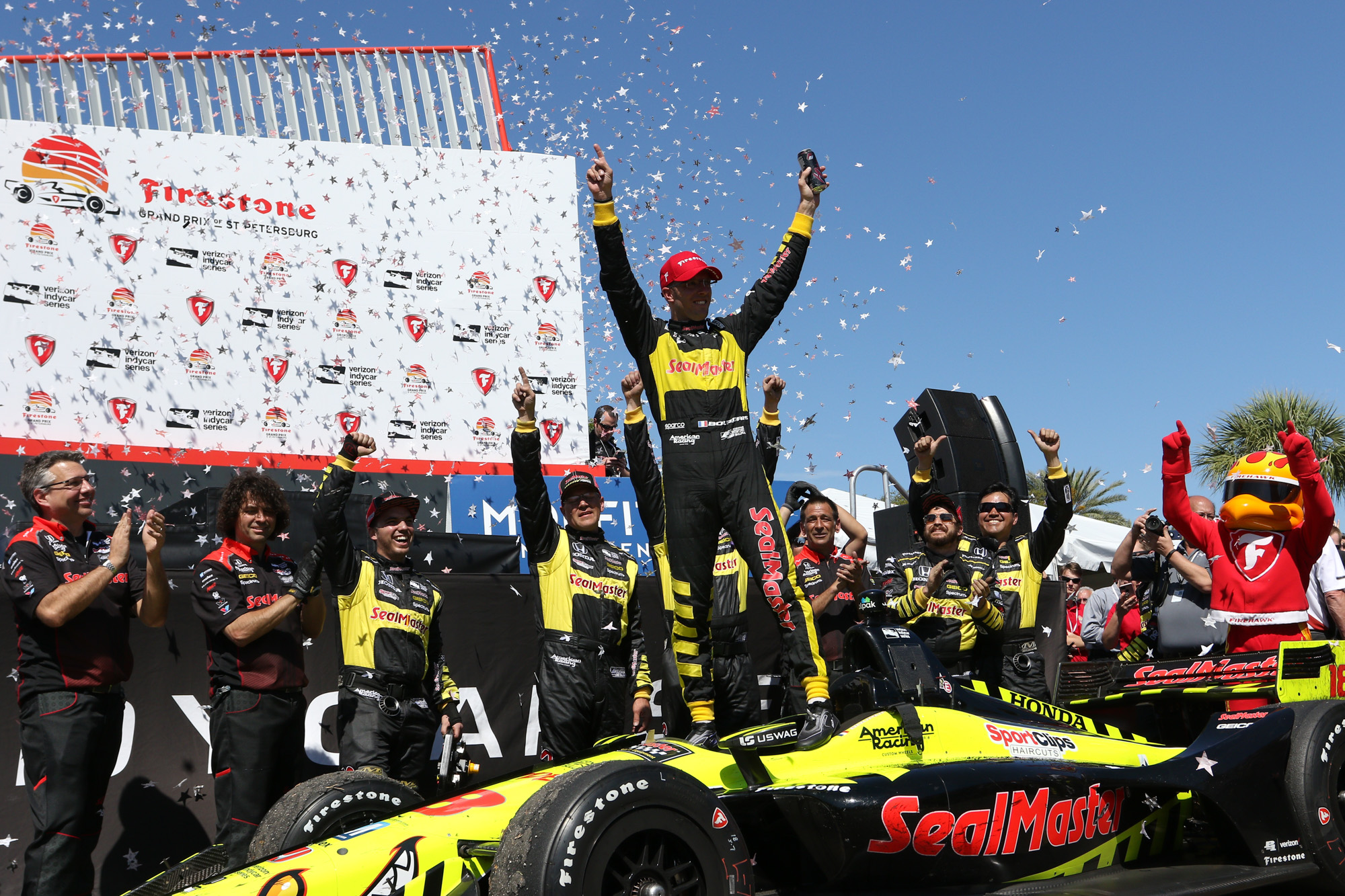 Bourdais celebrates his second straight victory./ANDREW J. KRAMER