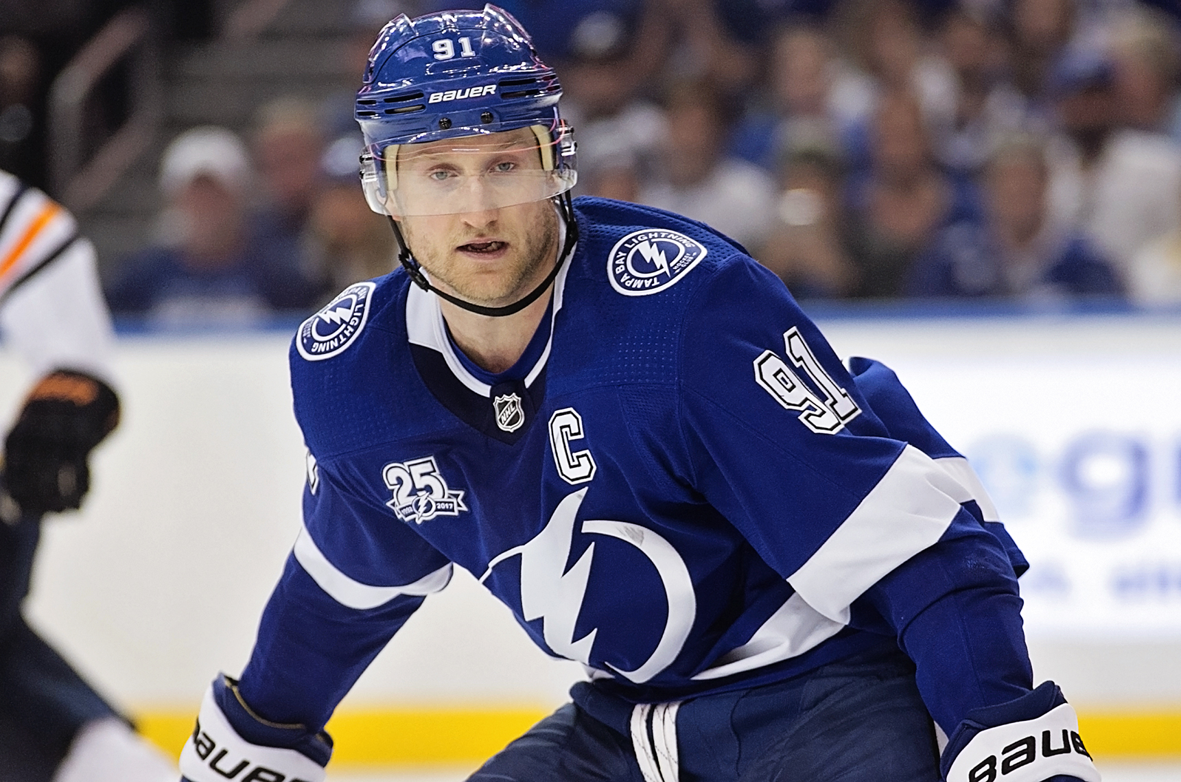 Stamkos had two assists on the night./CARMEN MANDATO