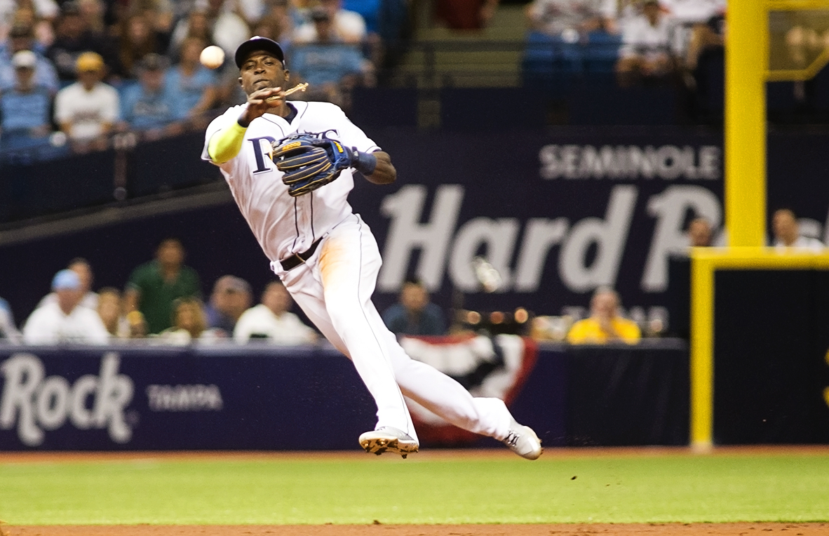 Hechavarria drove in a run for the Rays./CARMEN MANDATO
