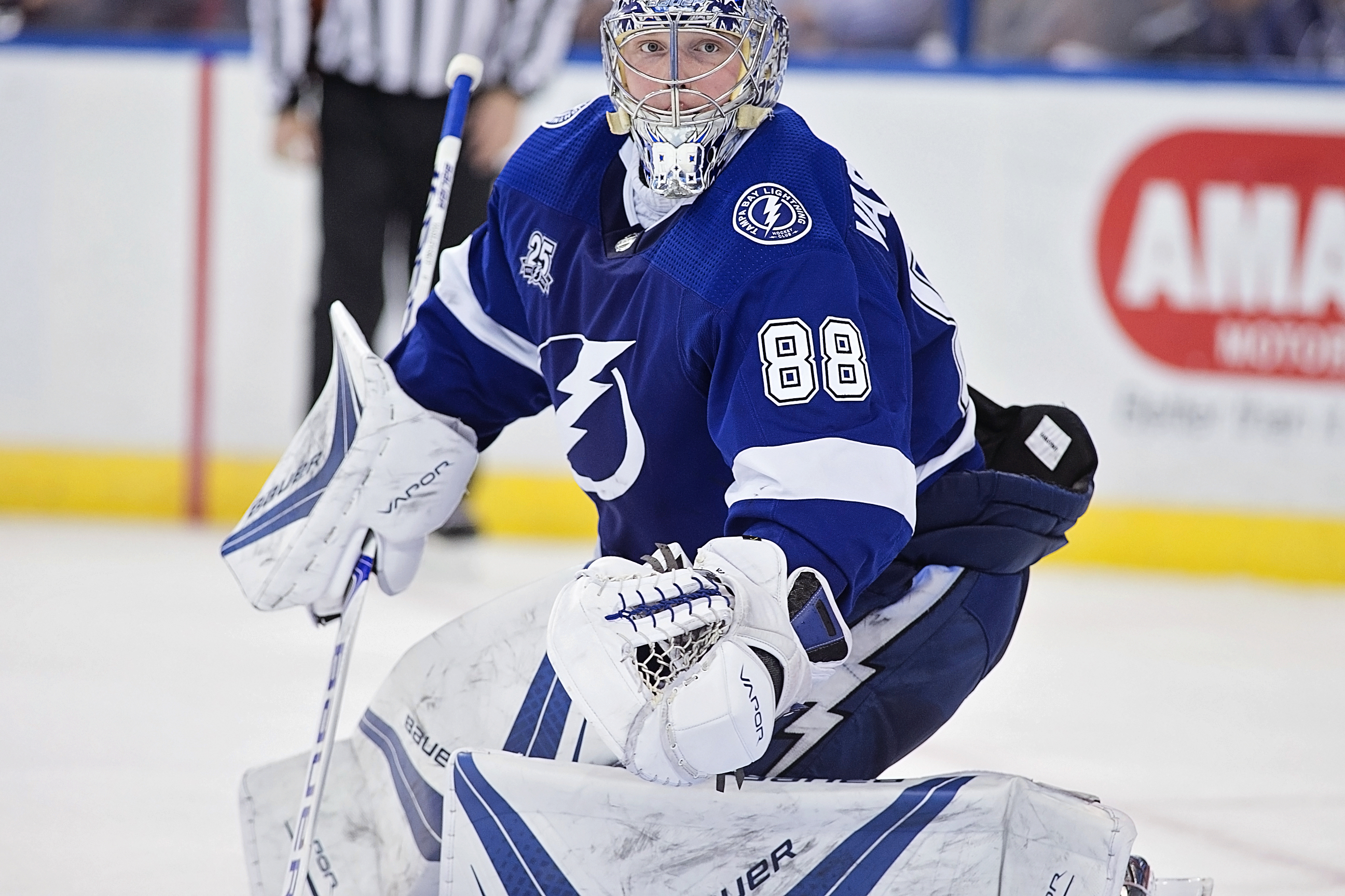 Vasilevskiy won his team-record 41st win of the season./CARMEN MANDATO