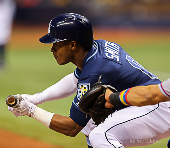 Smith continued his hot streak with four more hits for Rays./JEFFREY S. KING
