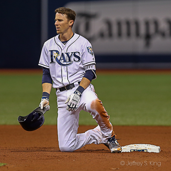 Duffy thrown at at second base, which cost the Rays a run./JEFFREY S. KING