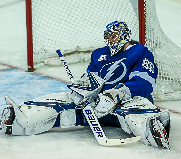 Vasilevskiy played well, but the Bolts didn't score./CARMEN MANDATO