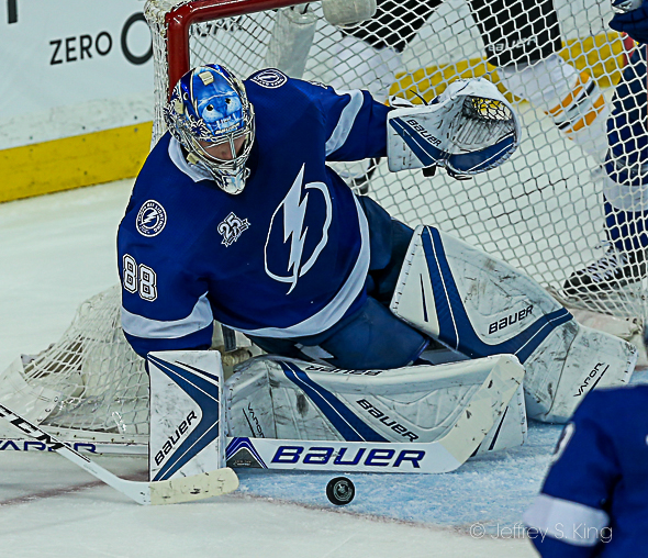 Vasilevskiy makes the save, but the Bolts gave up six./JEFFREY S. KING
