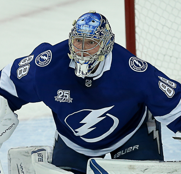 Vasilevskiy has now won three straight playoff games./CARMEN MANDATO