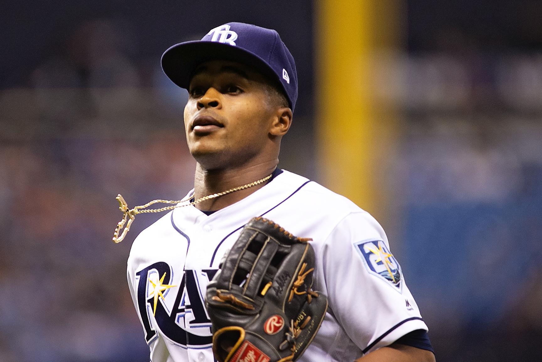 Mallex Smith had three hits in the Rays' victory./CARMEN MANDATO