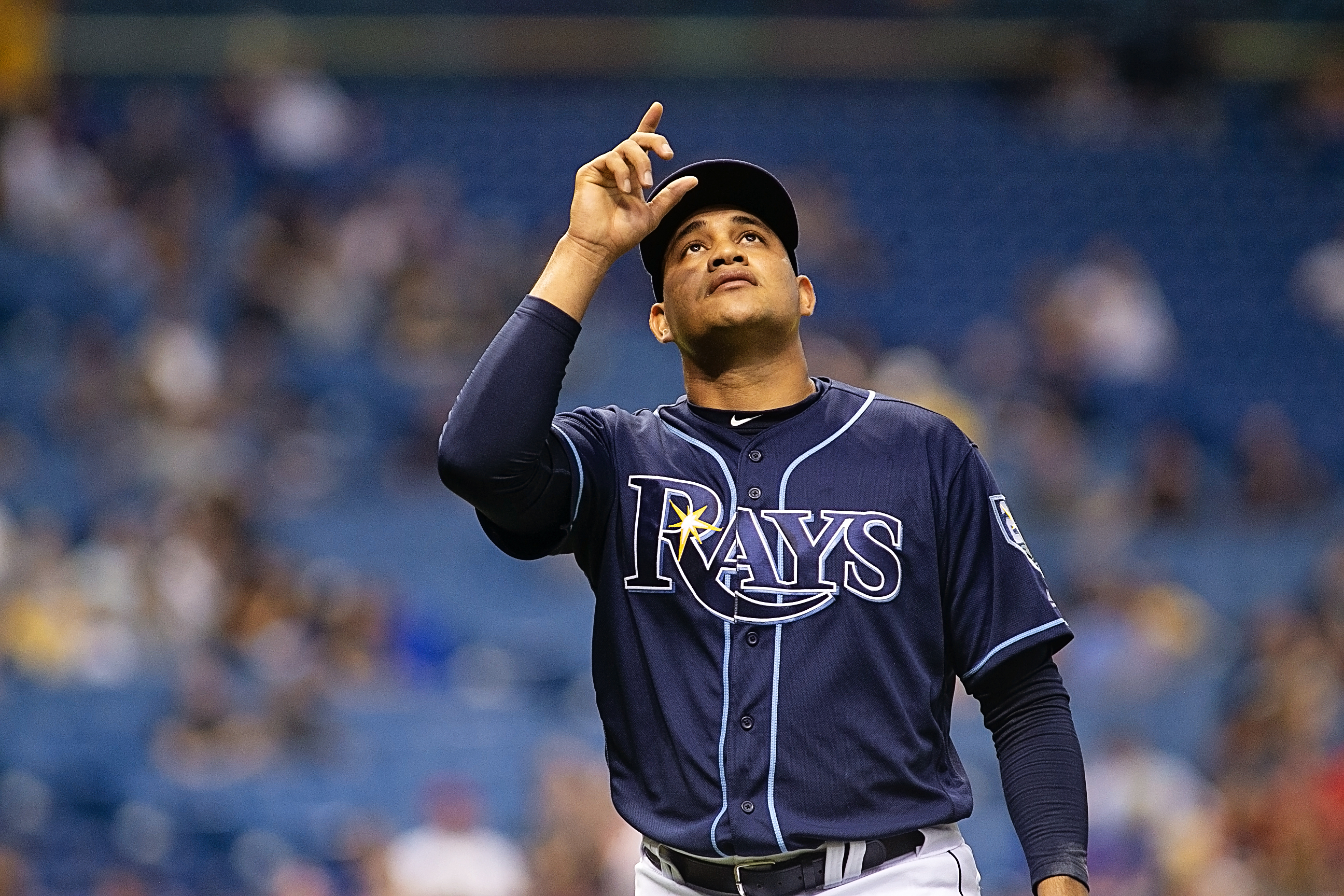 ChIrinos had his toughest outing for Rays./CARMEN MANDATO