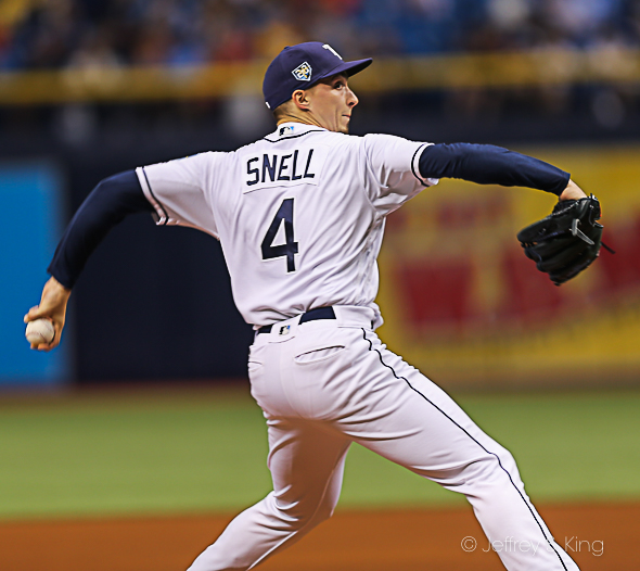 Snell won his 12th game for the Rays./CARMEN MANDATO
